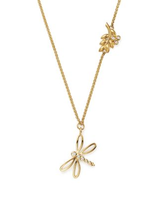 18K YELLOW GOLD TREE OF LIFE CHARM NECKLACE WITH DIAMONDS - 100% EXCLUSIVE