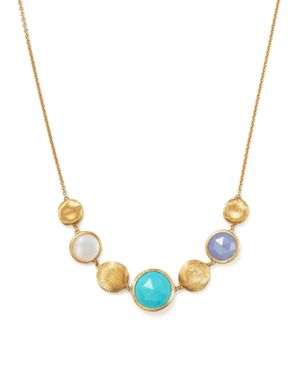 Marco Bicego 18K Yellow Gold Jaipur Half Collar Necklace with Turquoise, Mother-Of-Pearl and Chalced