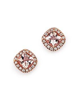 Bloomingdale's - Morganite Cushion and Diamond Stud Earrings in 14K Rose Gold- 100% Exclusive