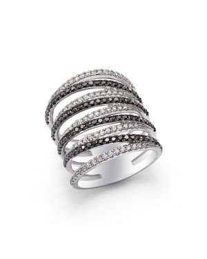 Black and White Diamond Micro Pave Ring in 14K White Gold - 100% Exclusive