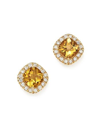 Bloomingdale's - Citrine Cushion and Diamond Stud Earrings in 14K Yellow Gold - 100% Exclusive
