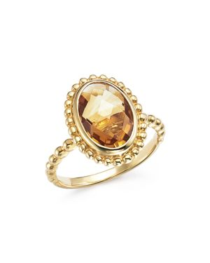 Citrine Oval Beaded Ring in 14K Yellow Gold - 100% Exclusive