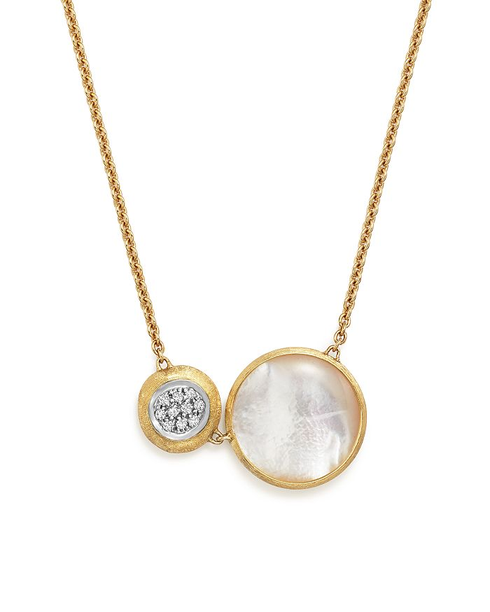"""Marco Bicego - 18K White and Yellow Gold Jaipur Pendant Necklace with Mother-Of-Pearl and Diamonds, 16"""""""