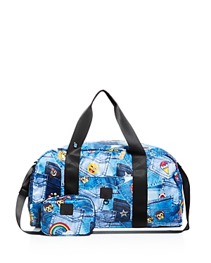 Terez Girls' Patch Pockets Emoji Print Collapsible Duffel