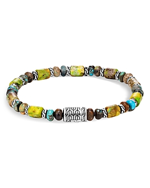 John Hardy Sterling Silver Classic Chain Mixed Turquoise Bead Bracelet