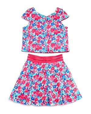 Us Angels Girls' Cutout Back Floral Top & Skirt Set - Big Kid