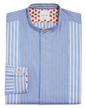 Paul Smith Stripe Mandarin Collar Regular Fit Button Down Shirt - 100% Exclusive