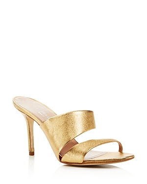 Charles David Status Metallic Leather High Heel Slide Sandals
