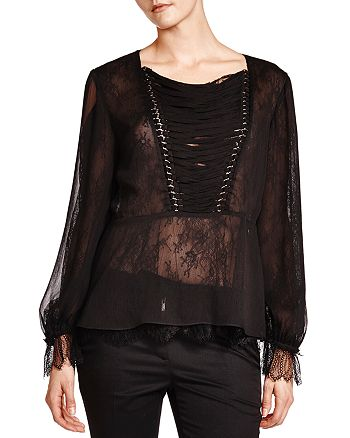 26f2bc6814d The Kooples Sheer Lace-Up Detail Top | Bloomingdale's
