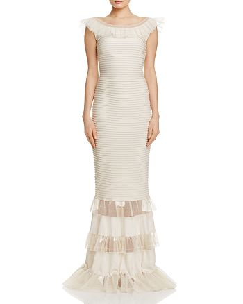 Tadashi Shoji - Illusion Ruffle Pintucked Gown