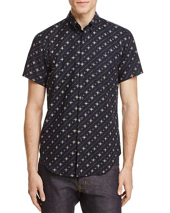 Naked & Famous - Diagonal Stripe Regular Fit Button-Down Shirt
