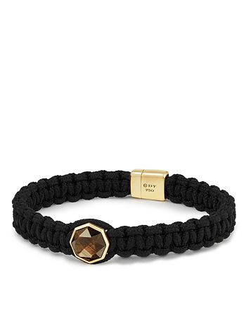 David Yurman - Fortune Woven Cord Bracelet with Golden Sheen Sapphire and 18K Yellow Gold