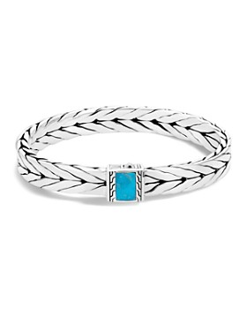 John Hardy - Sterling Silver Modern Chain Turquoise with Black Matrix Bracelet