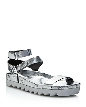 Rebecca Minkoff Elora Metallic Leather Studded Platform Sandals
