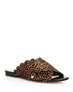 Isa Tapia Ana Maria Cheetah Print Calf Hair Scalloped Slide Sandals