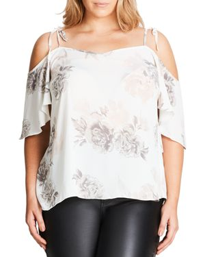 City Chic Floral Whimsy Top