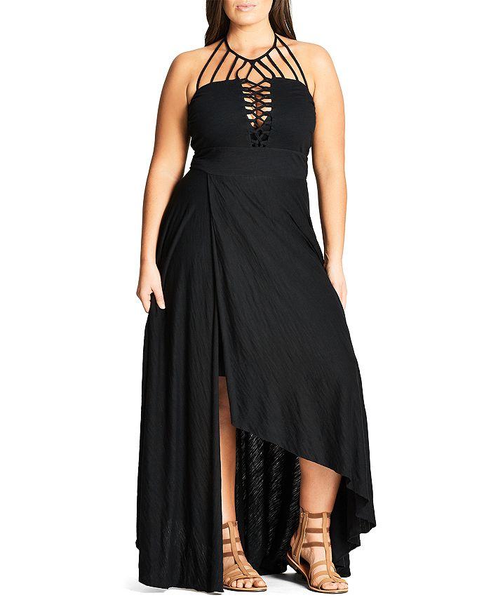 eda1b537f9 City Chic Plus - Strappy High Low Maxi Dress