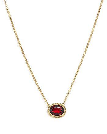 """Bloomingdale's - Garnet Bezel Pendant Necklace in 14K Yellow Gold, 18"""" - 100% Exclusive"""