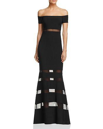 AQUA - Illusion Off-the-Shoulder Gown- 100% Exclusive