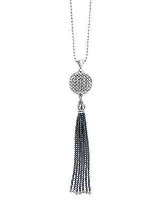 Sterling Silver Maya Escape Hematite Disk Tassel Pendant Necklace, 34