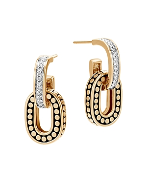 John Hardy 18K Yellow Gold Dot Diamond Small Drop Earrings