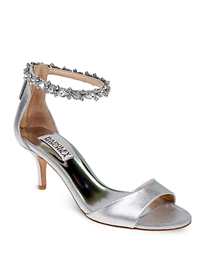 Badgley Mischka Geranium Embellished Metallic Leather Ankle Strap Sandals