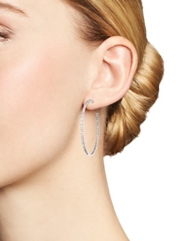 Roberto Coin - 18K White Gold Extra Large Hoop Earrings with Micro Pavé Diamonds