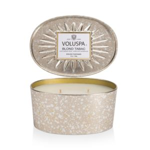 Voluspa Blond Tabac 2 Wick Candle in Decorative Oval Tin