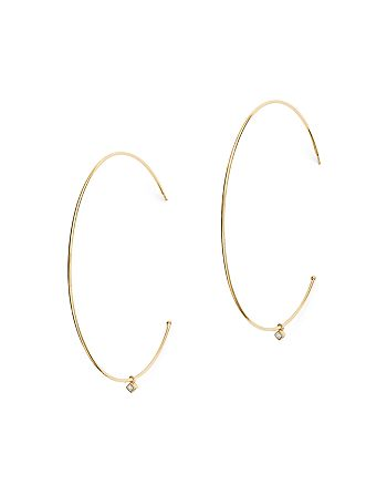 Zoë Chicco - 14K Yellow Gold Large Hoop Earrings with Dangling Diamonds