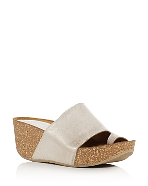 Donald J Pliner Ginie Metallic Leather Platform Wedge Sandals