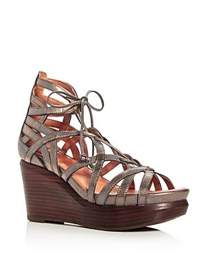 Gentle Souls Joy Metallic Lace Up Wedge Sandals