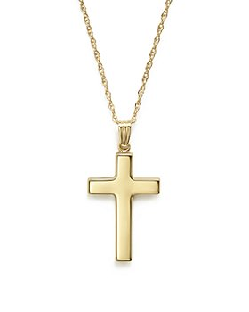 """Bloomingdale's - 14K Yellow Gold Polished Cross Necklace, 18"""" - 100% Exclusive"""