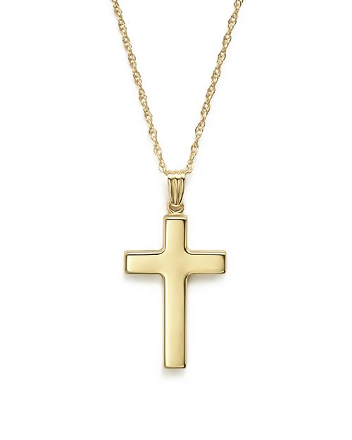 "Bloomingdale's - 14K Yellow Gold Polished Cross Necklace, 18"" - 100% Exclusive"