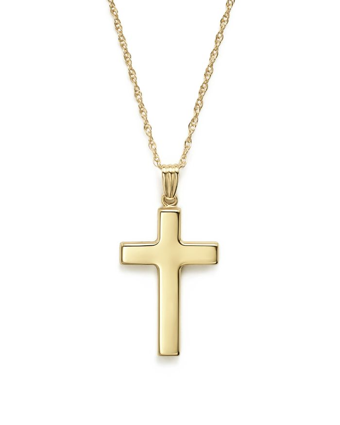"""Bloomingdale's 14K Yellow Gold Polished Cross Necklace, 18"""" - 100% Exclusive  