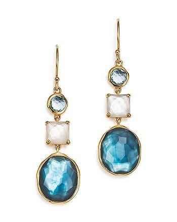 IPPOLITA - 18K Yellow Gold Rock Candy® 3-Stone Drop Earrings in Raindrop
