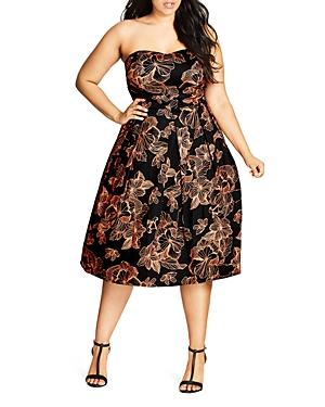City Chic Floral Outline Dress