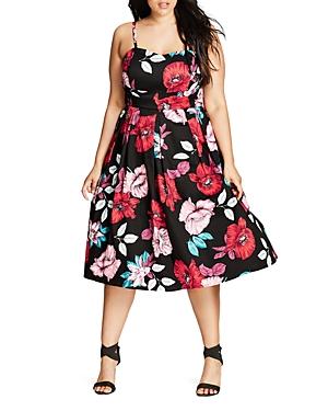 New City Chic Poppy Garden Dress, Black Multi