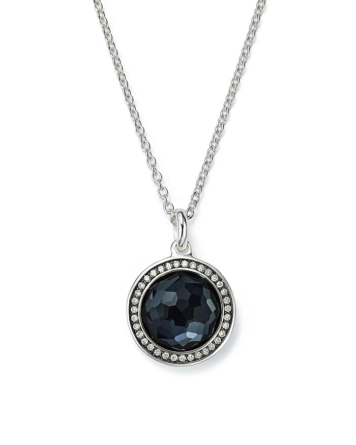IPPOLITA - Stella Lollipop Pendant Necklace in Hematite Doublet with Diamonds in Sterling Silver, 16""