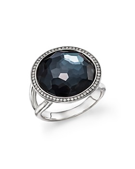 IPPOLITA - Stella Lollipop Ring in Hematite Doublet with Diamonds in Sterling Silver