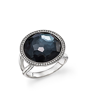 Ippolita Stella Lollipop Ring in Hematite Doublet with Diamonds in Sterling Silver