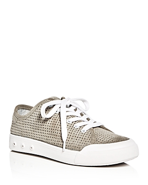 rag & bone Women's Standard Issue Perforated Suede Lace Up Sneakers