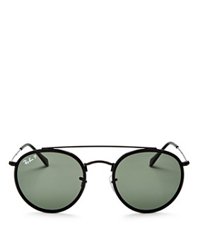 Ray-Ban - Unisex Polarized Brow Bar Round Sunglasses, 50mm
