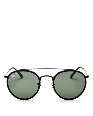 Ray-Ban Unisex Polarized Brow Bar Round Sunglasses, 51mm