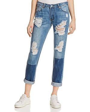 Sunset & Spring Patched Boyfriend Jeans in Denim - 100% Exclusive