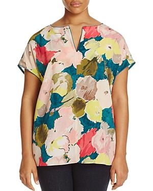 Lafayette 148 New York Plus Joanie Floral Print Split Neck Top
