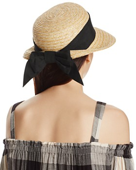 AQUA - Straw Cloche Hat with Bow Back - 100% Exclusive