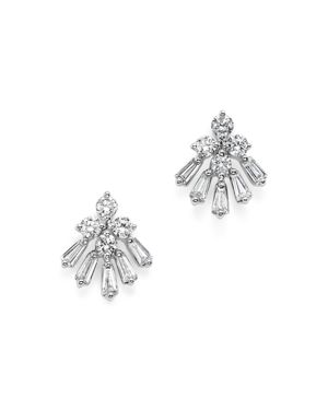 Diamond Round and Baguette Earrings in 14K White Gold, .55 ct. t.w. - 100% Exclusive