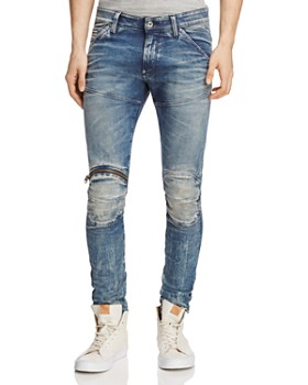 G-STAR RAW - 5620 3D Distressed Super Slim Jeans in Light Aged