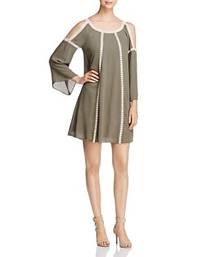 Cupio Cold Shoulder Crochet Trim Dress