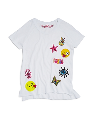 So Nikki. Girls' Emoji Peace Patch Tee - Big Kid